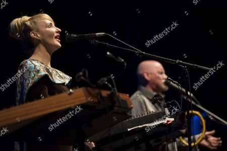 Members of the World Fusion Music Band Dead Can Dance of Australia Lisa Gerrard (l) and Brendan Perry As They Perform During Their Concert in Papp Laszlo Budapest Sports Arena in Budapest Hungary 17 October 2012 Hungary Budapest