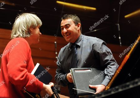 Russian-born Violin Master and Conductor of Pannon Philharmonic Orchestra Maxim Vengerov (r) Talks with Hungarian Pianist Dezseo Ranki (l) After a Rehearsal Play at Kodaly Centre Concert Hall in Pecs 196 Kms Southwest of Budapest Hungary 09 December 2010 Vengerov who Has Since 2005 Been Professor at the Royal Academy of Music in London Will Perform on 16 December During the Inauguration of the New Concert Hall of Pecs Which is One of the Three Cultural Capitals of Europe in 2010 Besides Essen and Istanbul Hungary Pecs
