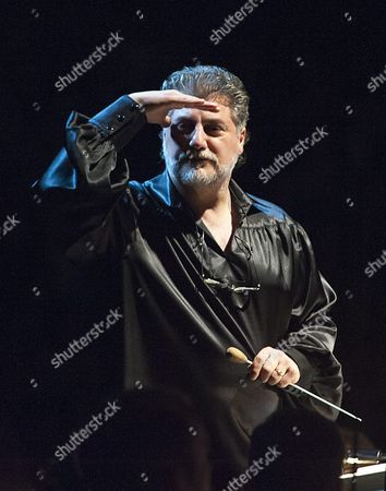 Argentine Tenor Conductor and Composer Jose Cura Stands on the Rostrum Before He Conducts the Gyor Philharmonic Orchestra Performing the Concert Version of the Opera Othello by Giuseppe Verdi in Gyor Hungary 23 April 2016 the Production is Performed to Mark the 400th Anniversary of the Death of the English Playwright William Shakespeare Hungary Gyor