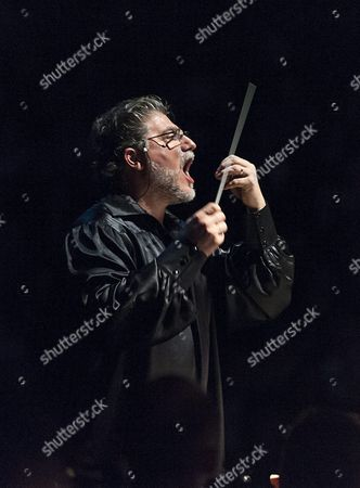 Argentine Tenor Conductor and Composer Jose Cura Conducts the Gyor Philharmonic Orchestra Performing the Concert Version of the Opera Othello by Giuseppe Verdi in Gyor Hungary 23 April 2016 the Production is Performed to Mark the 400th Anniversary of the Death of the English Playwright William Shakespeare Hungary Gyor