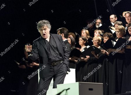 Italian Bariton Piero Terranova Sings with the Gyor Philharmonic Orchestra Performing the Concert Version of the Opera Othello by Giuseppe Verdi in Gyor Hungary 23 April 2016 the Production is Performed to Mark the 400th Anniversary of the Death of the English Playwright William Shakespeare Hungary Gyor