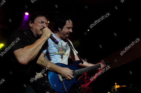 Guitarist-singer Steve Lukather (r) and Singer Bobby Kimball (l) Perform During the Concert of the Us Band Toto in Budapest Hungary Late Saturday 19 August 2006 Hungary Budapest