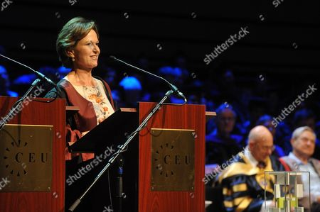 Hungarian Born American Journalist Kati Marton (l) Widow of Late Us Diplomat Richard Holbrooke Delivers a Speech After She Receiving the Open Society Prize of the Central European University on Behalf of Her Husband During the Graduation Ceremony of the Central European University in Budapest Hungary 16 June 2011 Hungary Budapest