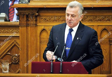 Hungarian President Pal Schmitt Announces His Resignation During the Plenary Session of the Parliament in Budapest Hungary 02 April 2012 Last Week the Senate of Semmelweis University Revoked the Doctor Title From Hungarian President Pal Schmitt Over Plagiarism Charges Hungary Budapest