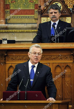 Stock Image of Hungarian President Pal Schmitt (l) Announces His Resignation As Speaker of the Hungarian Parliament Laszlo Kover Looks on During the Plenary Session of the Parliament in Budapest Hungary 02 April 2012 Last Week the Senate of Semmelweis University Revoked the Doctor Title From Hungarian President Pal Schmitt Over Plagiarism Charges Hungary Budapest