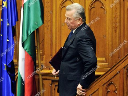 Stock Picture of Hungarian President Pal Schmitt Leaves the Podium After He Announced His Resignation During the Plenary Session of the Parliament in Budapest Hungary 02 April 2012 Hungarian President Pal Schmitt Announced His Resignation on 02 April After He was Found to Have Plagiarized Doctoral Thesis Pal Schmitt on 02 April Said He Felt 'Obliged' to Relinquish His Mandate As President of Hungary 'The Head of State Embodies the Unity of the Nation Due to the Ongoing Situation i Feel Obliged to Give Back the Mandate of the Presidency ' the Centre-right Politician Told Parliament Hungary Budapest
