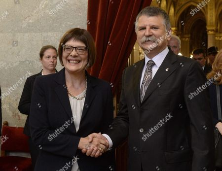 Serbian Parliamentary Speaker Maja Gojkovic (l) is Received by Her Hungarian Counterpart Laszlo Kover (r) in the Parliament Building in Budapest Hungary 19 November 2015 Maja Gojkovic is Staying on a One-day Official Visit in the Hungarian Capital Hungary Budapest