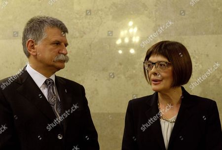 Stock Picture of Serbian Parliamentary Speaker Maja Gojkovic (r) is Received by Her Hungarian Counterpart Laszlo Kover (l) in the Parliament Building in Budapest Hungary 19 November 2015 Maja Gojkovic is Staying on a One-day Official Visit in the Hungarian Capital Hungary Budapest