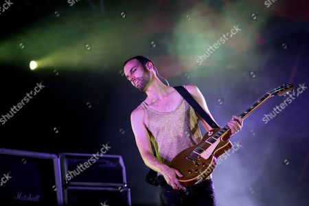 Bass Guitarist Stefan Olsdal of the British Alternative Rock Band Placebo Performs During Their Concert at the 20th Sziget (island) Festival on the Shipyard Island in Northern Budapest Hungary 08 August 2012 Sziget Festival is One of the Biggest Cultural Events of Europe Offering Art Exhibitions Literary and Theatrical Performances and Above All Music Concerts by Some 300 Performers 150 of Them From Abroad Hungary Budapest