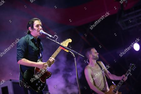 Singer Brian Molko (l) and Bass Guitarist Stefan Olsdal of the British Alternative Rock Band Placebo Perform During Their Concert at the 20th Sziget (island) Festival on the Shipyard Island in Northern Budapest Hungary 08 August 2012 Sziget Festival is One of the Biggest Cultural Events of Europe Offering Art Exhibitions Literary and Theatrical Performances and Above All Music Concerts by Some 300 Performers 150 of Them From Abroad Hungary Budapest