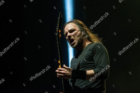 Guitarist Michael Paget of the Welsh Heavy Metal Band Bullet For My Valentine Performs at the 24th Sziget (island) Festival on Shipyard Island Northern Budapest Hungary 16 August 2016 the Festival Which Runs From 10 to 17 August is One of the Biggest Cultural Events of Europe Offering Art Exhibitions Theatrical and Circus Performances and Above All Music Concerts in Eight Days More Than 1 500 Programs and Performers From Over 60 Countries Will Entertain the Expected 450 000 Visitors Representing 98 Countries of the World Hungary Budapest