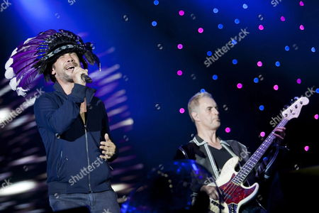 British Singer Jason Kay (l) and British Bass Guitarist Paul Turner (r) of the Band Jamiroquai Performs at the Exit Festival in Novi Sad Serbia 09 July 2011 the Festival Held in a Fort is One of Southeastern Europe's Largest Rock and Pop Music Events Serbia and Montenegro Novi Sad