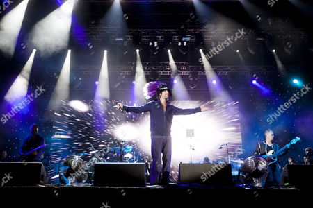 British Singer Jason Kay (c) of the Band Jamiroquai Performs at the Exit Festival in Novi Sad Serbia 09 July 2011 the Festival Held in a Fort is One of Southeastern Europe's Largest Rock and Pop Music Events Serbia and Montenegro Novi Sad