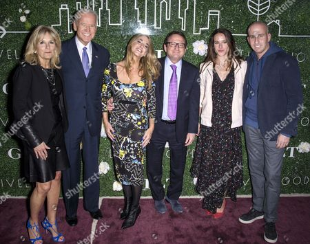 (L-R) Dr. Jill Biden, Joe Biden, Jacquie Storch, Gerald L. Storch, CEO, HBC, Livelihood founder Ashley Biden, and Gilt & Saks OFF 5TH President Jonathan Greller