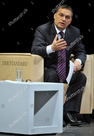 President of Conservative Party Fidesz - Hungarian Civic Alliance of Hungary Viktor Orban Gestures at a Talk Show in Burgtheater in Vienna Austria 22 February 2009 As He Speaks About Hungary's Recent History Politicians and Historians Attended a Public Live Discussion at the Forum '20 Years After 1989' As They Gave an Account on the Times Since 20 Years Ago when a Dramatic Change Took Place in the Societies of Former Warsaw Pact States with the Collapse of the Communist Bloc Also on the Podium: (l-r) Historian Adam Michnik of Poland Kurt Biedenkopf of Former Premier of Saxony Moderator Krzysztof Michalski and Historian Timothy Garton Ash of United Kingdom Austria Vienna