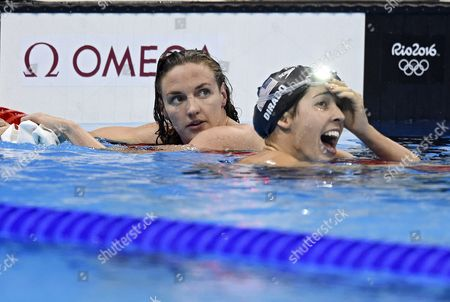 Winner Maya Dirado of Usa (r) and Second Placed Katinka Hosszu of Hungary (l) React After the Women's 200m Backstroke Final Race of the Rio 2016 Olympic Games Swimming Events at Olympic Aquatics Stadium at the Olympic Park in Rio De Janeiro Brazil 12 August 2016 Brazil Rio De Janeiro