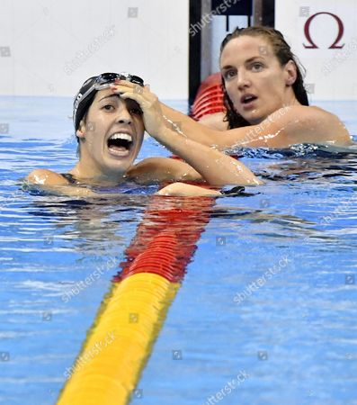 Winner Maya Dirado of Usa (l) and Second Placed Katinka Hosszu of Hungary (r) React After the Women's 200m Backstroke Final Race of the Rio 2016 Olympic Games Swimming Events at Olympic Aquatics Stadium at the Olympic Park in Rio De Janeiro Brazil 12 August 2016 Brazil Rio De Janeiro