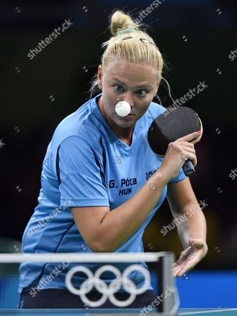 Georgina Pota of Hungary in Action Against Mo Zhang of Canada During Their Match in the Rio 2016 Olympic Games Table Tennis Events at the Riocentro in Rio De Janeiro Brazil 06 August 2016 Pota Won by 4-1 Brazil Rio De Janeiro