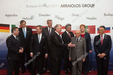 Heads of State of Arraiolos Group Pose For a Family Photo in the Presidential Alexander Palace in Budapest Hungary on 08 April 2011 on the First Day of Their Two-day Meeting in the Hungarian Capital Front Row L-r: Presidents Bronislaw Komorowski of Poland Christian Wulff of Germany Pal Schmitt of Hungary Giorgio Napolitano of Italy and An?bal Cavaco Silva of Portugal Back Row L-r: Presidents Danilo Turk of Slovenia Valdis Zatlers of Latvia Heinz Fischer of Austria and Tarja Halonen of Finland Hungary Budapest