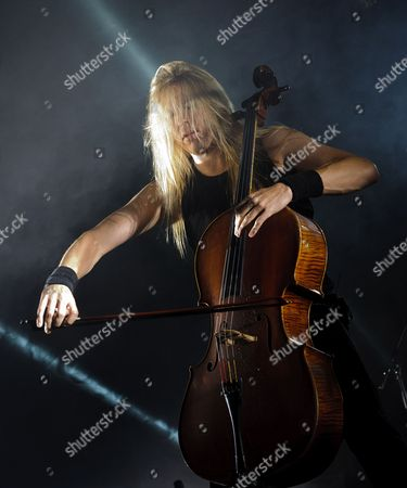 Stock Picture of Member of Finnish Heavy Metal Band Apocalyptica Eicca Toppinen Perform on Stage During Their Concert at the Campus Festival in Debrecen 226 Kms East of Budapest Hungary Late 28 July 2012 Hungary Debrecen