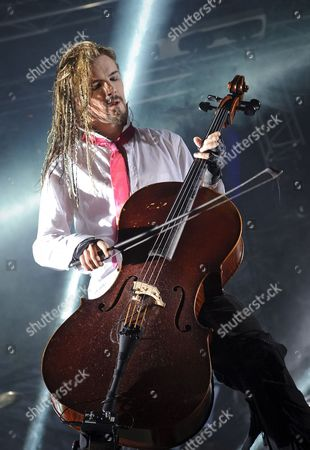 Member of Finnish Heavy Metal Band Apocalyptica Perttu Kivilaakso Perform on Stage During Their Concert at the Campus Festival in Debrecen 226 Kms East of Budapest Hungary Late 28 July 2012 Hungary Debrecen
