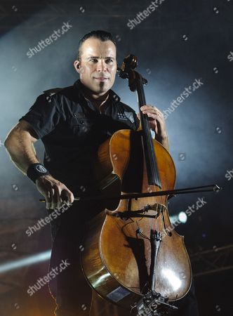 Member of Finnish Heavy Metal Band Apocalyptica Paavo Loetjoenen Perform on Stage During Their Concert at the Campus Festival in Debrecen 226 Kms East of Budapest Hungary Late 28 July 2012 Hungary Debrecen