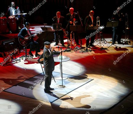 Stock Image of Cuban Bolero Singer Ibrahim Ferrer of the Buena Vista Social Club Performs During His Concert in the Natioanl Concert Hall in Budapest Hungary Friday Night May 27 2005 Hungary Budapest