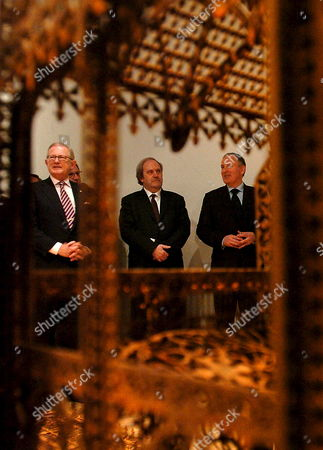 (l-r) Dutch Princes Margriet of Netherlands Professor Pieter Van Vollenhoven Dutch Minister of European Affairs Frans Timmermans and Representative of the Flamish Government in Hungary Walter Moens Watch the Exhibition of Flemish Artist Wim Delvoye After the Opening of the Exhibition in a Museum in Budapest Hungary 15 February 2008 the Exhibition is Part of the Low Dutch-flemish Cultfest in Budapest Hungary Budapest