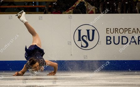 Jenna Mccorkell of Britain Falls During Her Short Program in the Womens Competition of the European Figure Skating Championships in Syma Hall in Budapest Hungary 15 January 2014 Hungary Budapest