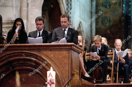 (l-r) Eilika Habsburg and Her Husband George Habsburg and Karl Habsburg Attend the Funeral Mass For Otto Von Habsburg in the Crypt of the Basilica of the Benedictine Abbey of Pannonhalma in Pannonhalma 130 Kms West of Budapest Hungary 17 July 2011 Otto Von Habsburg's Heart Urn Will Be Laid to Rest Here on the Deceased's Request Son of the Latest Hungarian King Charles Iv the Last Emperor of Austria Died on 04 July at His House in Poecking Germany Hungary Budapest