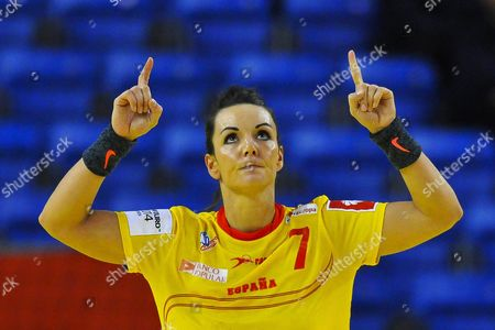 Beatriz Fernandez of Spain Celebrates During the Women's European Championship Main Round Group i Handball Match Between Spain and Denmark in Debrecen Hungary 17 December 2014 Hungary Debrecen