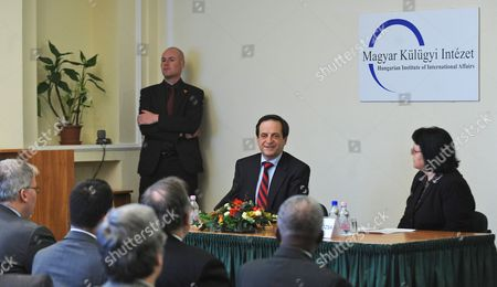 Dan Meridor (c) the Deputy Prime Minister of Israel Delivers a Lecture Entitled 'Strategic Developments in the Middle East' at the Hungarian Institute of Foreign Affairs in Budapest Hungary on 16 February 2011 Hungary Budapest