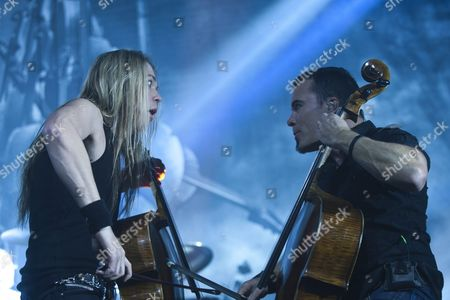 Stock Image of Eicca Toppinen (l) and Paavo Lotjonen of Finnish Heavy Metal Band Apocalyptica Perform in Petoefi Hall in Budapest Hungary 23 February 2011 Apocalyptica Are Currently on a World Tour Hungary Budapest