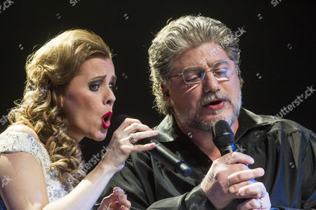 Argentinian Tenor Jose Cura (r) and Hungarian Singer Andrea Maho Perform During Their Concert at the Papp Laszlo Budapest Sports Arena in Budapest Hungary 21 February 2015 Hungary Budapest
