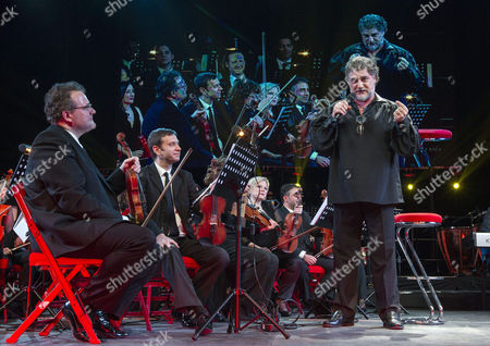 Argentinian Tenor Jose Cura (r) and Hungarian Singer Andrea Maho (unseen) Perform During Their Concert at the Papp Laszlo Budapest Sports Arena in Budapest Hungary 21 February 2015 Hungary Budapest