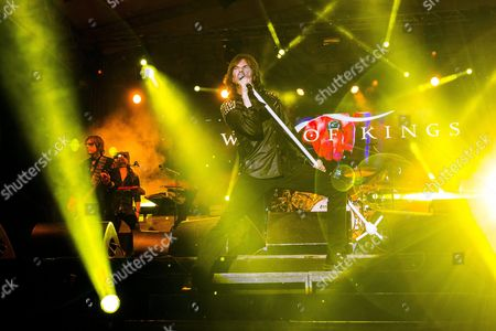 Singer Joey Tempest (c) and Bass Guitarist John Leven (l) Perform During the Concert of the Swedish Rock Band Europe at the 16th Harley-davidson Open Road Fest Hungary's Largest Annual Festival of Motorcycle Riders in Europe Camping in Alsoors at Lake Balaton 120 Kms Southwest of Budapest Hungary Late 13 June 2015 Hungary Alsoors