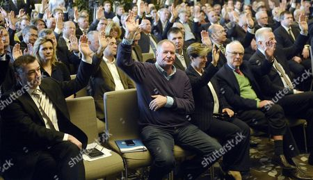 Stock Photo of Members of the Hungarian Olympic Committee (mob) in the First Row From Left to Right: Zsolt Gomori President of the Hungarian Paralympic Committee (mpb) Denes Kemeny Chairman of the Hungarian Water Polo Federation Krisztina Regoczy World Champion Figure Skater Jeno Kamuti Chairman of the Hungarian and International Fair Play Committee and Pal Schmitt Member of the International Olympic Committee Vote to Select Budapest As Its Applicant City to Host the 2024 Olympic and Paralympic Games in Budapest Hungary 06 February 2015 Hungary Budapest