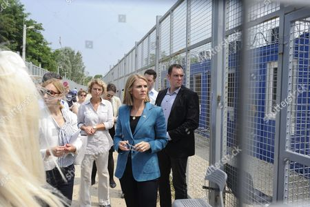 American Ambassador to Hungary Colleen Bell (c) Visits the Transit Zone at the Hungarian-serbian Border Near Roszke 180 Kms Southeast of Budapest Hungary 28 July 2016 Hungary Roszke
