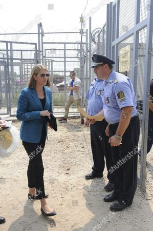 American Ambassador to Hungary Colleen Bell (l) Visits the Transit Zone at the Hungarian-serbian Border Near Roszke 180 Kms Southeast of Budapest Hungary 28 July 2016 Hungary Roszke