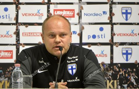 Stock Image of Finnish National Soccer Team Head Coach Mixu Paatelainen Speaks to the Media in the Groupama Arena in Budapest Hungary 13 November 2014 the Eve of the Hungary Vs Finland Uefa Euro 2016 Qualifying Group F Soccer Match to Be Played in the Hungarian Capital Hungary Budapest