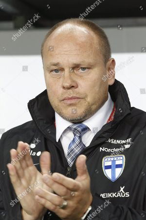 Stock Picture of Finnish National Soccer Team Head Coach Mixu Paatelainen During the Uefa Euro 2016 Qualifying Group F Soccer Match Between Hungary and Finland in the Groupama Arena in Budapest Hungary 14 November 2014 Hungary Budapest
