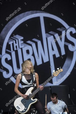 Singer Bass Guitarist Charlotte Cooper of British Band the Subways Performs During Their Concert at the 20th Sziget (island) Festival on the Shipyard Island in Northern Budapest Hungary 12 August 2012 Hungary Budapest
