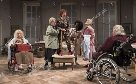 Stock Picture of Amanda Walker as St Michael, Joanna Munro as June, Sheila Reid as Gloria, Keziah Joseph as Hope, Rachel Davies as Maureen, Maggie McCarthy as May