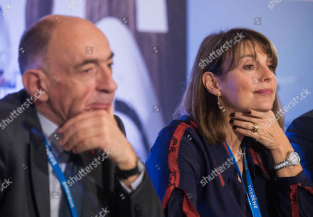 Jean-Marc Janaillac CEO of Air France-KLM (L) and Carolyn Mccall, CEO of EasyJet (R) during the second summit of Airlines for Europe (A4E) Aviation Summit in Brussels, Belgium, 08 February 2017. The A4E consists of 14 airlines.