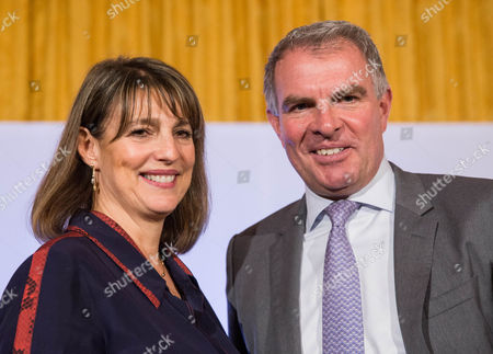 Carolyn Mccall, CEO of EasyJet (L) and Carsten Spohr, CEO of Lufthansa Group (R) during the second summit of Airlines for Europe (A4E) Aviation Summit in Brussels, Belgium, 08 February 2017. The A4E consists of 14 airlines.