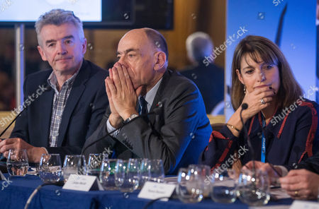 Michael O'Leary, CEO of Irish budget airline Ryanair (L), Jean-Marc Janaillac CEO of Air France-KLM (C) and Carolyn Mccall, CEO of EasyJet (R) during the second summit of Airlines for Europe (A4E) Aviation Summit in Brussels, Belgium, 08 February 2017. The A4E consists of 14 airlines.