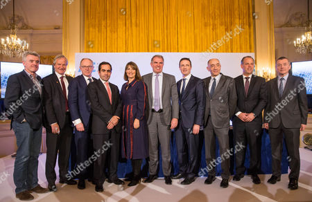 (L-R) Michael O Leary, CEO of Irish budget airline Ryanair, Bjorn Kjos CEO of Norwegian, Pekka Vauramo, CEO of Finnair, Carlos Munoz, CEO of Volotea, Carolyn Mccall, CEO of EasyJet, Carsten Spohr, CEO of Lufthansa Group, Thomas Reynaert, Managing Director of A4E, Jean-Marc Janaillac CEO of Air France-KLM, Martin Gauss, CEO of airBaltic and Willie Walsh, CEO of IAG International Air Group during the second summit of Airlines for Europe (A4E) Aviation Summit in Brussels, Belgium, 08 February 2017. The A4E consists of 14 airlines.