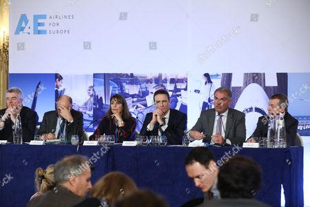 Michael O'Leary (Ryanair), Jean-Marc Janaillac (Air France Klm), Carolyn McCall (Easy Jet), Thomas Reynaert (A4E), Carsten Spohr (Lufthansa), Willie Walsh (IAG)