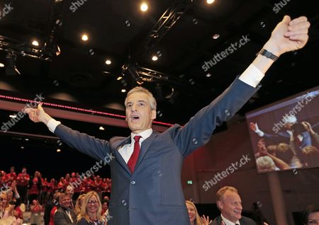 New Chairman of the Norwegian Labour Party Jonas Gahr Stoere Celebrates After Being Elected at a Party Meeting in Oslo Norway 14 June 2014 Stoere Succeeds out Going Chairman Jens Stoltenberg who Will Take on the Post of Secretary General of Nato Later in 2014 Norway Oslo