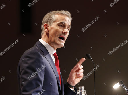 New Chairman of the Norwegian Labour Party Jonas Gahr Stoere Speaks After Being Elected at a Party Meeting in Oslo Norway 14 June 2014 Stoere Succeeds out Going Chairman Jens Stoltenberg who Will Take on the Post of Secretary General of Nato Later in 2014 Norway Oslo